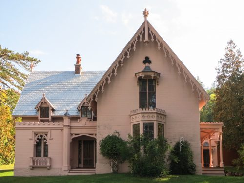 The historic Justin Morrill Homestead, the Gothic Revival-style home of U.S. Sen. Justin Smith Morrill in Strafford, Vt., has pressed metal roof shingles. Photo by Adrienne Dickerson.