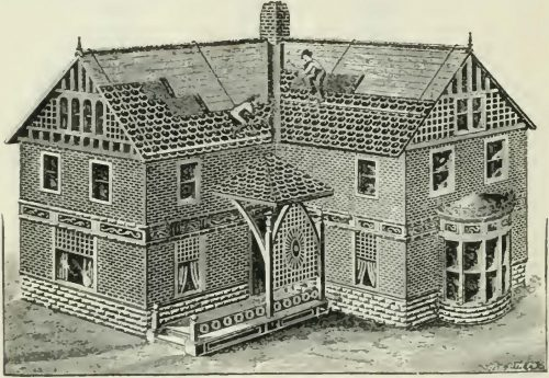 This image from a 1911 catalog from Pedlar People Limited, a sheet metal stamping company, shows a balloon-frame house being clad in its metal shingle siding and roofing.